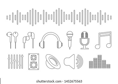 Set of music icons. Contour icons.