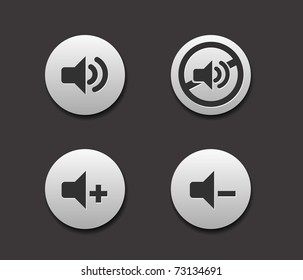 Set of Music Icons on circle button collection Original Illustration.