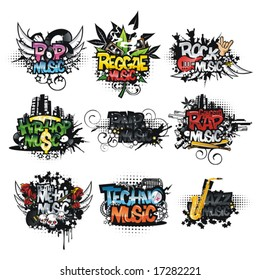 Set of music icons. Music styles. Stickers.