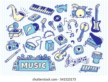 set of music instrument in doodle style on paper background