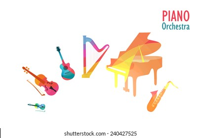 Set of Music Instruments in Piano Orchestra, Vector Illustration