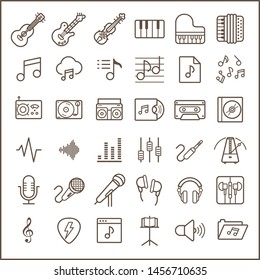 Set of music line icon set. Included the icons as instrument, musical, cassette,  setting, microphone, records and more. customize color, stroke width control , easy resize.
