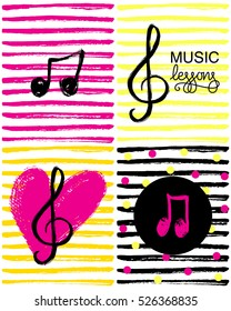 A set of music note icons and hand drawn heart. Music lessons logo. Colorful music note background. Vector Illustration