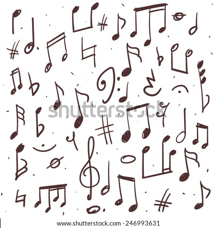 Set Music Notes Hand Drawn Illustration Stock Vector Royalty Free