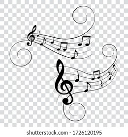 Set of music notes with swirls, vector illustration.
