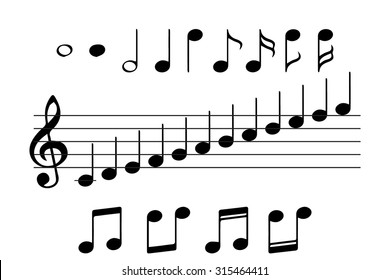 Set music notes vector