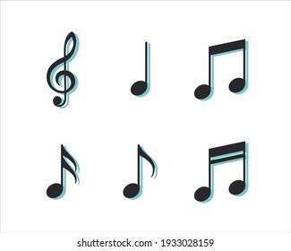 Set of music notes. Vector symbols on white background.