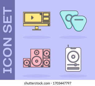 Set Music player, Video recorder or editor software on monitor, Stereo speaker and Guitar pick icon. Vector