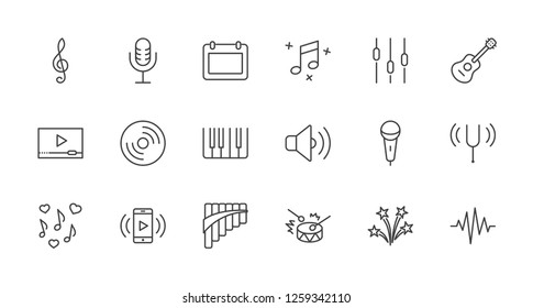 Set of Music Related Vector Line Icons. Contains such Icons as Pan Flute, Piano, Guitar, Treble Clef, In-ear and more. Editable Stroke. 32x32 Pixel Perfect