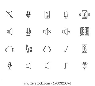 Set of music related vector line icons. Premium linear symbols pack. Vector illustration isolated on a white background. Web symbols for web sites and mobile app. Trendy design.