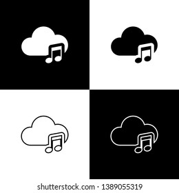 Set Music streaming service icon isolated icon on black and white background. Sound cloud computing, online media streaming, online song, audio wave. Line, outline and linear icon. Vector Illustration