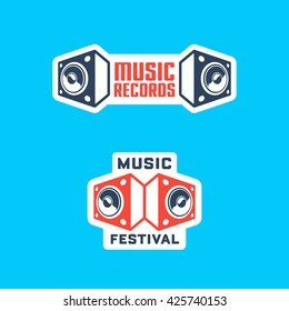 Set of Music Themed Badges & Labels. Collection of Solid, Bold, Strong & Clean Emblems & Symbols for Music Festival, Band, Record Label, Musical School, Event, Singer, Night Club etc