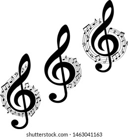 Set of musical design elements, treble clef in swirl with music notes, vector illustration.