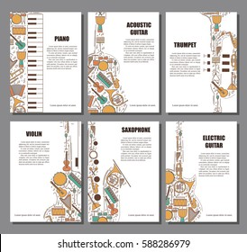 Set of musical illustration concept. Art music poster book brochure element. Vector decorative greeting card or invitation design background. Creative booklet layout. Magazie cover