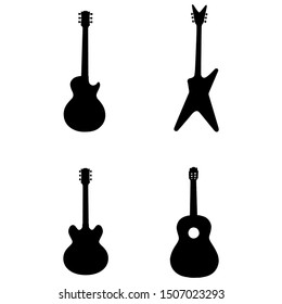 set of musical instrument icons, guitar icons design.