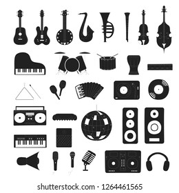 Set of musical instruments in black. Music shop or school concept. Vector isolated illustration. Disco ball. Cello, guitar, saxophone and violin for country festival or jazz fest.
