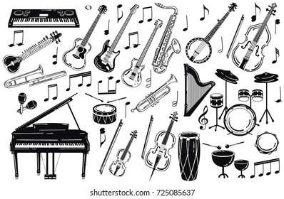 A set of musical instruments. Collection of stylized musical instruments. A set of logos. Black and white illustration.