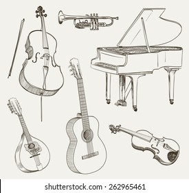 set of musical instruments drawings. vector illustration