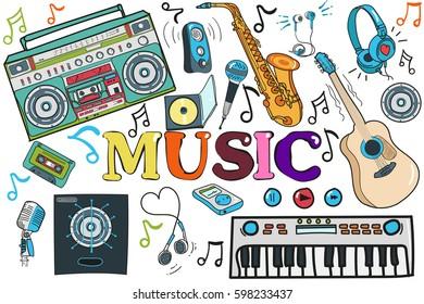 a set of musical instruments. guitar, headphones, microphone, audio, cassette, etc. Doodle.