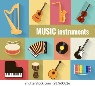 Set of musical instruments harp, guitar, saxophone, violin, drum, accordion, piano and banjo.  Isolated on a separate background.