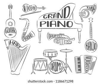 Set Musical Instruments Lettering Piano Violin Stock Vector Royalty