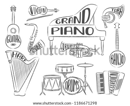 set musical instruments lettering names instruments stock vector