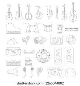 Set of musical instruments outline. Music shop or school concept. Vector isolated illustration. Disco ball. Cello, guitar, saxophone and violin for country festival or jazz fest.