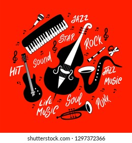 Set of musical instruments: piano, trumpet, cymbals, guitar, cello and saxophone. Vector hand drawn illustration.