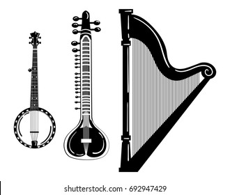 A set of musical instruments. Stylized harp. Black and white banjo illustration. Sitar. Collection of stringed musical instruments. Tattoo.