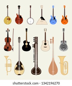 Set of musical instruments. Vector illustration
