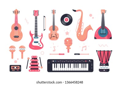 Set of musical instruments vector illustration. Composition consists of violin, guitar, saxophone, maracas, balalaika and drum flat style design. Melodic accompaniment concept. Isolated on white