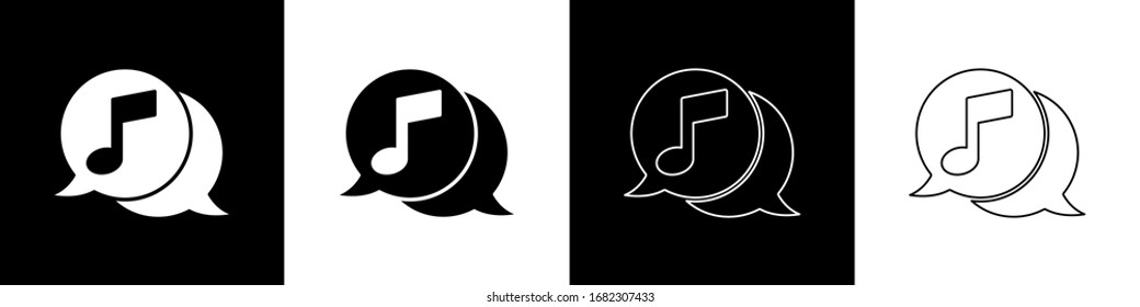 Set Musical note in speech bubble icon isolated on black and white background. Music and sound concept.  Vector Illustration