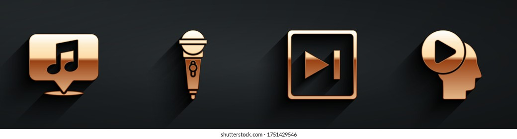 Set Musical note in speech bubble, Microphone, Fast forward and Head people with play button icon with long shadow. Vector