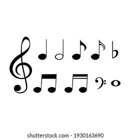 Set of musical notes and symbols, vector illustration.