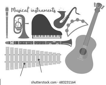 Set of musical orchestral instruments. Gray musical silhouettes