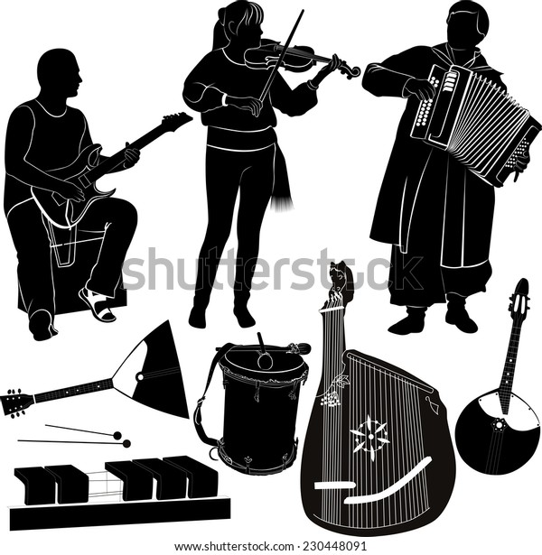 set of musicians and musical instruments isolated on white background