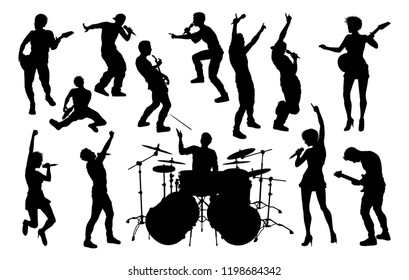 A set of musicians, rock or pop band singers, drummers, and guitarists high quality silhouettes