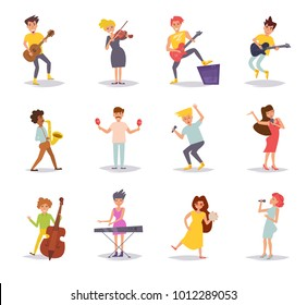 Set with musicians. Vector. Cartoon. Isolated art on white background. Flat