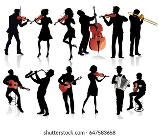 Set of musicians with a violin, a guitar, a trumpet, an accordion.  Hand drawn illustration.