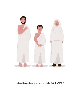 Set of Muslim Family Wearing Ihram, Hajj Dress Cartoon Illustration
