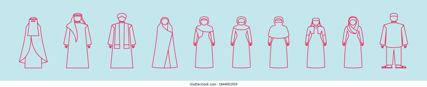 set of muslim fashion cartoon icon design template with various models. vector illustration isolated on blue background