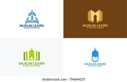 Set of Muslim Learn logo designs concept, Muslim Education logo template vector