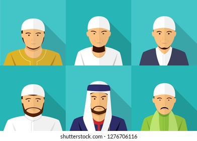 Set of Muslim man portrait in flat style, vector