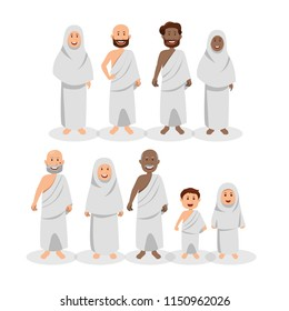 Set of Muslim Wearing Ihram During Hajj, Islamic Pilgrimage Cartoon Vector Illustration