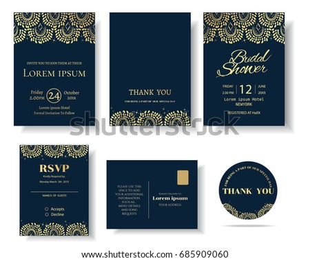 Set Muslim Wedding Invitation Card Template Greeting Stock Vector