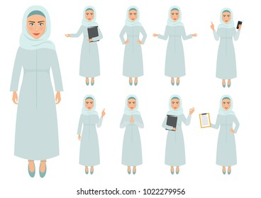 Set of Muslim Woman In Business, Communication, Services Character