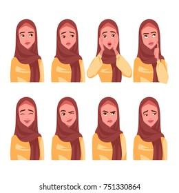 Set of Muslim woman's emotions. Vector cartoon illustration.