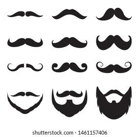 Set of mustache.Men beard collection