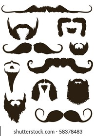 Set of mustache and beard silhouettes.  No Shave November - Movember
