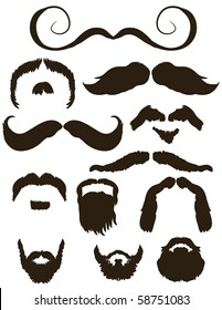 Set of mustache and beard silhouettes for No Shave November - Movember